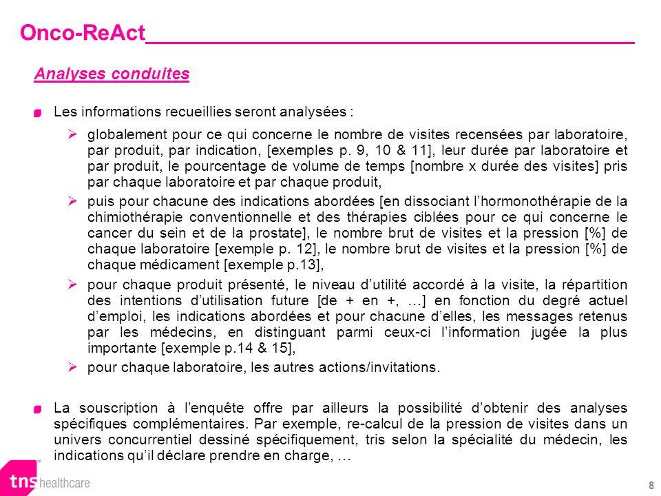 19 Nous proposons également une souscription de létude par segment (par exemple uniquement sur les visites effectuées dans le cancer du sein, uniquement sur les visites dun certain produit, …).