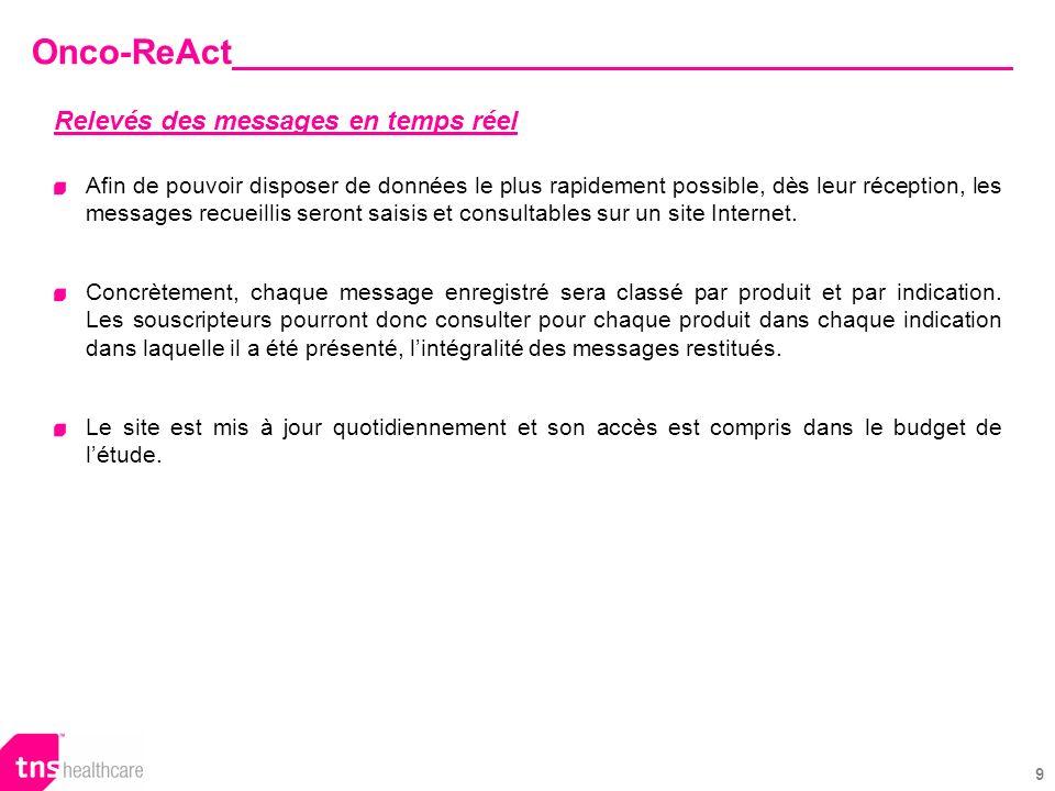 9 Onco-ReAct Relevés des messages en temps réel Afin de pouvoir disposer de données le plus rapidement possible, dès leur réception, les messages recueillis seront saisis et consultables sur un site Internet.