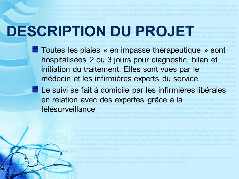 DESCRIPTION DU PROJET Toutes les plaies « en impasse thérapeutique » sont hospitalisées 2 ou 3 jours pour diagnostic, bilan et initiation du traitement.