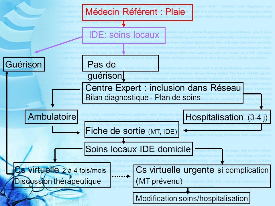 Guérison Médecin Référent : Plaie IDE: soins locaux Pas de guérison Centre Expert : inclusion dans Réseau Bilan diagnostique - Plan de soins Ambulatoire Hospitalisation (3-4 j) Fiche de sortie (MT, IDE) Soins locaux IDE domicile Cs virtuelle 2 à 4 fois/mois Discussion thérapeutique Cs virtuelle urgente si complication ( MT prévenu) Modification soins/hospitalisation