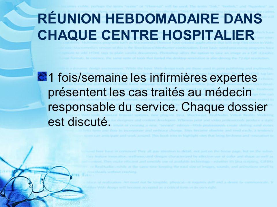 RÉUNION HEBDOMADAIRE DANS CHAQUE CENTRE HOSPITALIER 1 fois/semaine les infirmières expertes présentent les cas traités au médecin responsable du service.