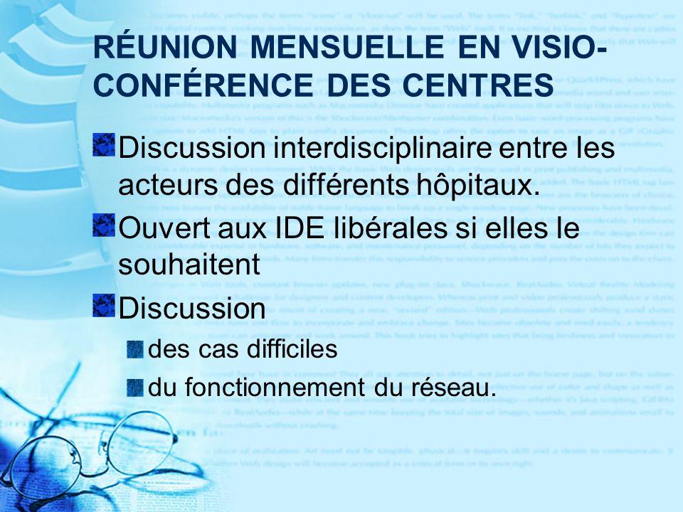 RÉUNION MENSUELLE EN VISIO- CONFÉRENCE DES CENTRES Discussion interdisciplinaire entre les acteurs des différents hôpitaux.