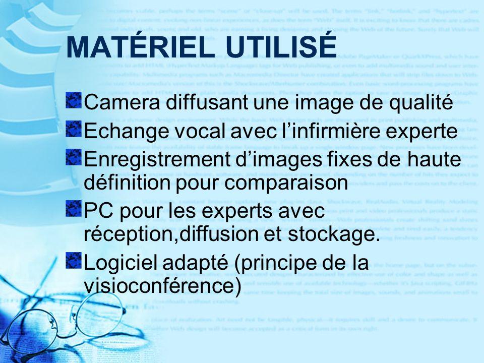 MATÉRIEL UTILISÉ Camera diffusant une image de qualité Echange vocal avec linfirmière experte Enregistrement dimages fixes de haute définition pour comparaison PC pour les experts avec réception,diffusion et stockage.