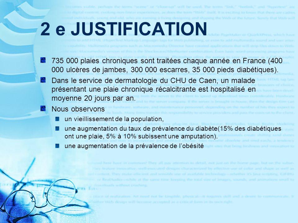 2 e JUSTIFICATION 735 000 plaies chroniques sont traitées chaque année en France (400 000 ulcères de jambes, 300 000 escarres, 35 000 pieds diabétiques).