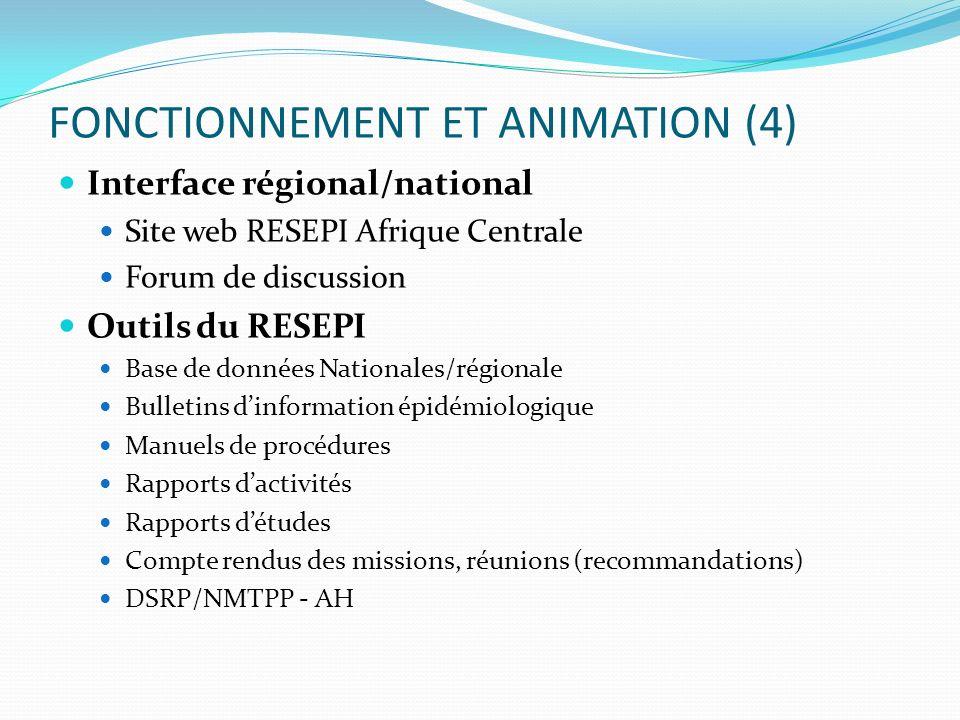 FONCTIONNEMENT ET ANIMATION (4) Interface régional/national Site web RESEPI Afrique Centrale Forum de discussion Outils du RESEPI Base de données Nati