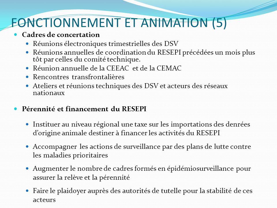 FONCTIONNEMENT ET ANIMATION (5) Cadres de concertation Réunions électroniques trimestrielles des DSV Réunions annuelles de coordination du RESEPI préc