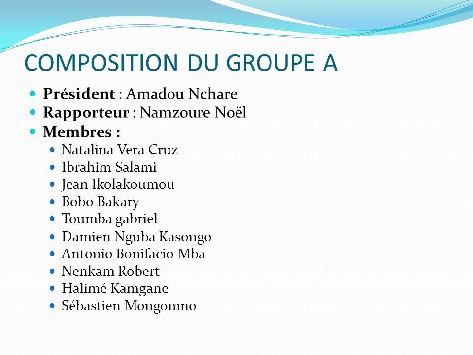 COMPOSITION DU GROUPE A Président : Amadou Nchare Rapporteur : Namzoure Noël Membres : Natalina Vera Cruz Ibrahim Salami Jean Ikolakoumou Bobo Bakary