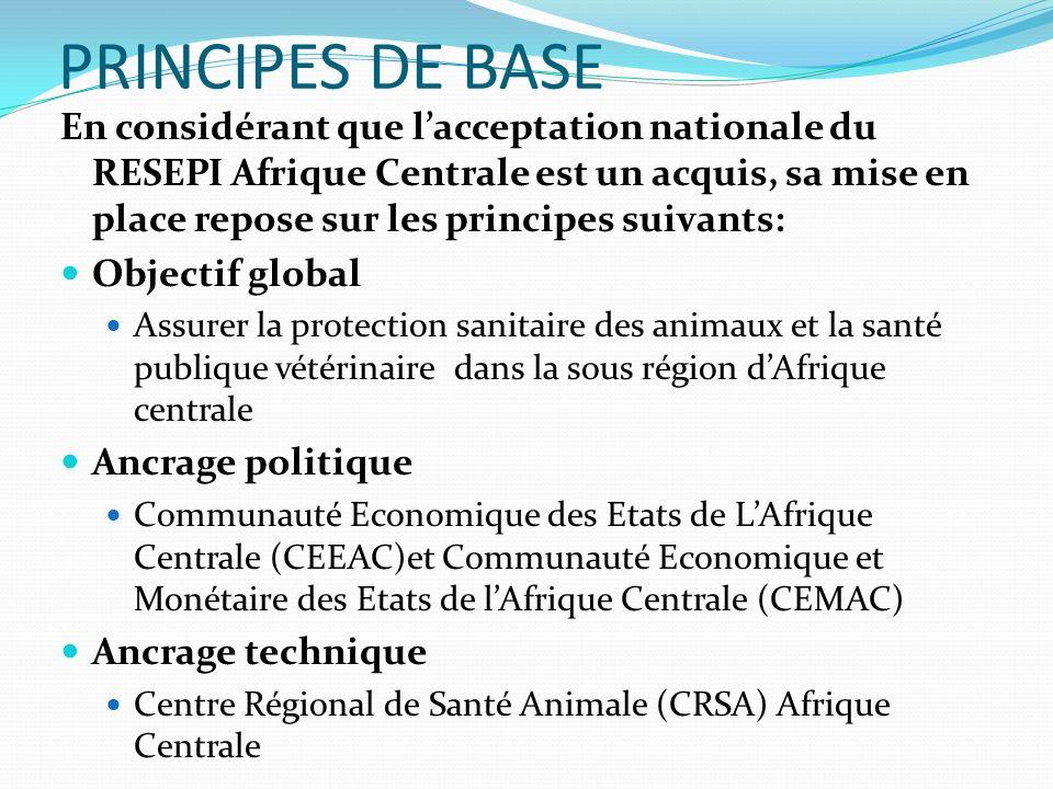 PRINCIPES DE BASE En considérant que lacceptation nationale du RESEPI Afrique Centrale est un acquis, sa mise en place repose sur les principes suivan