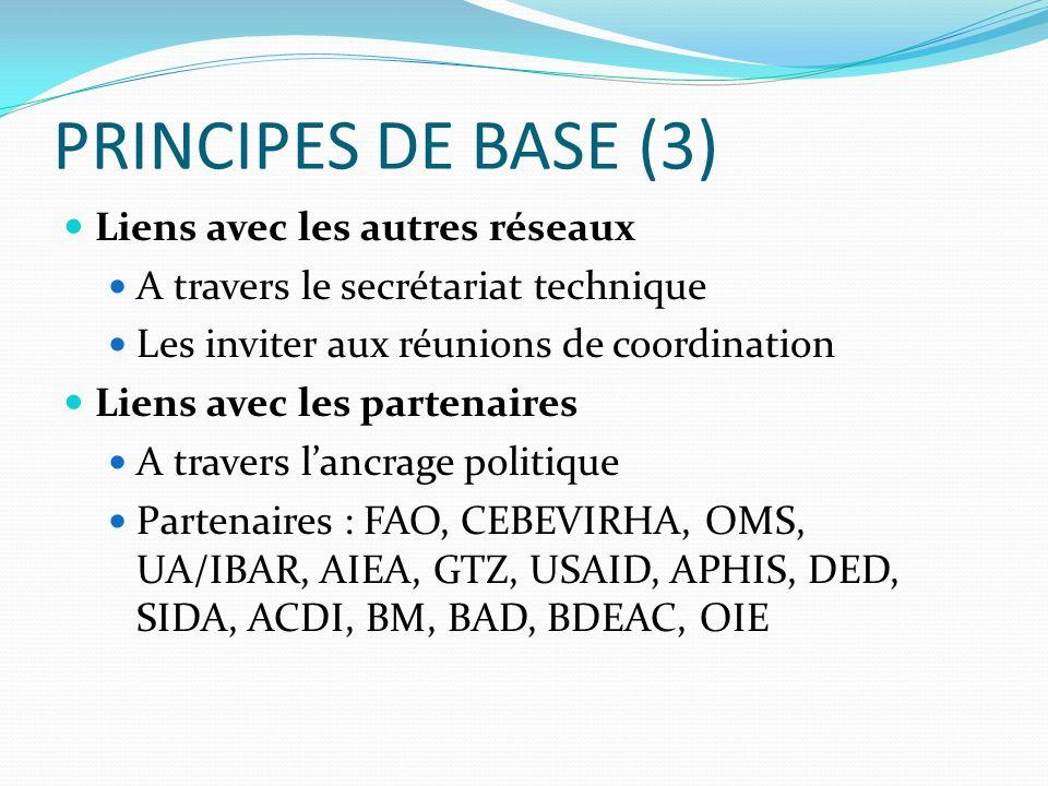 PRINCIPES DE BASE (3) Liens avec les autres réseaux A travers le secrétariat technique Les inviter aux réunions de coordination Liens avec les partena