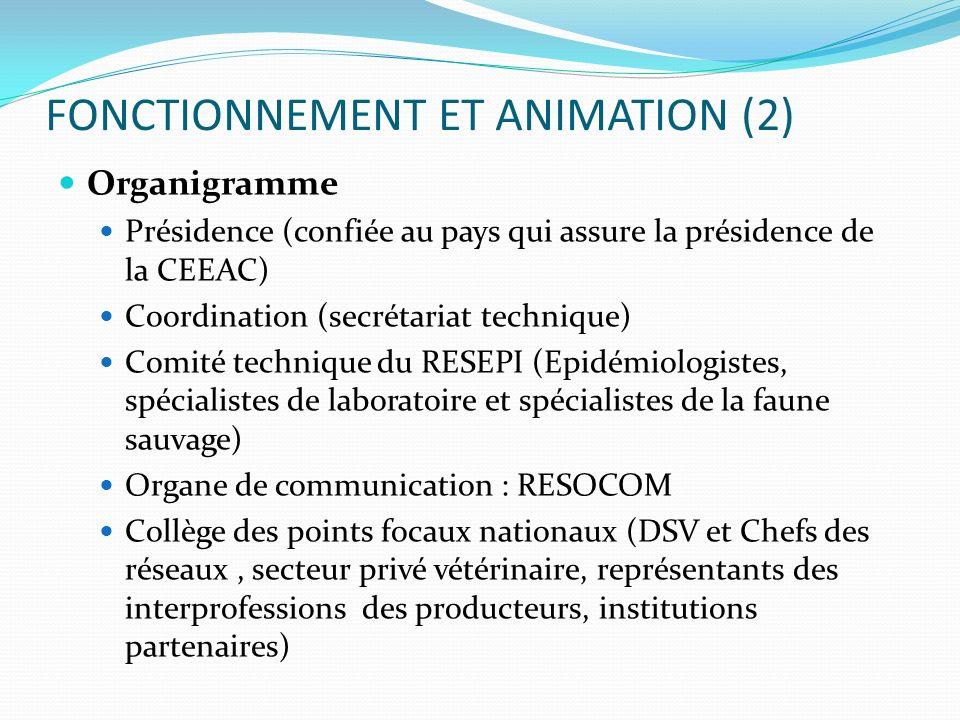 FONCTIONNEMENT ET ANIMATION (2) Organigramme Présidence (confiée au pays qui assure la présidence de la CEEAC) Coordination (secrétariat technique) Co