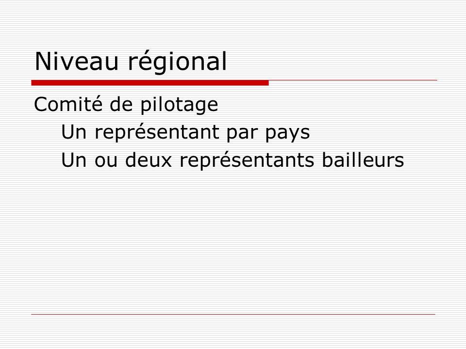 Niveau régional Comité de pilotage Un représentant par pays Un ou deux représentants bailleurs