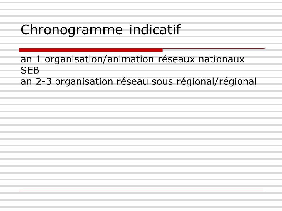 Chronogramme indicatif an 1 organisation/animation réseaux nationaux SEB an 2-3 organisation réseau sous régional/régional