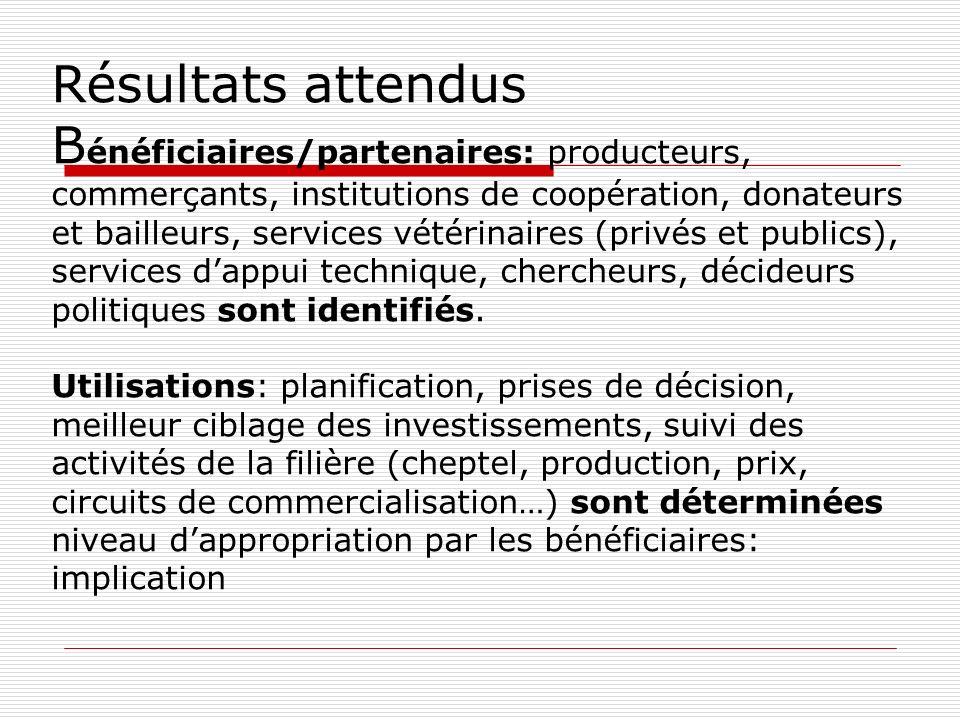 Résultats attendus B énéficiaires/partenaires: producteurs, commerçants, institutions de coopération, donateurs et bailleurs, services vétérinaires (privés et publics), services dappui technique, chercheurs, décideurs politiques sont identifiés.