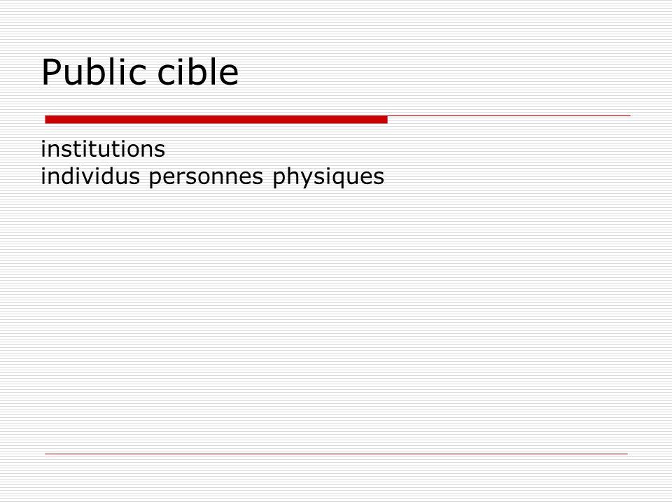 Public cible institutions individus personnes physiques