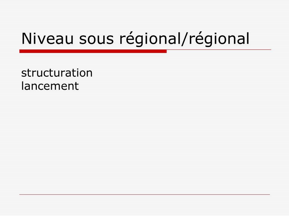 Niveau sous régional/régional structuration lancement