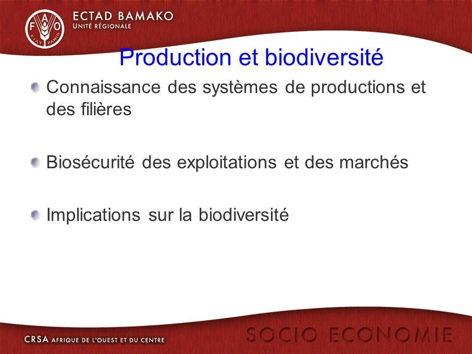 Production et biodiversité Connaissance des systèmes de productions et des filières Biosécurité des exploitations et des marchés Implications sur la biodiversité