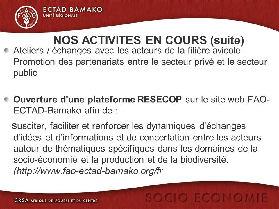 NOS ACTIVITES EN COURS (suite) Ateliers / échanges avec les acteurs de la filière avicole – Promotion des partenariats entre le secteur privé et le secteur public Ouverture d une plateforme RESECOP sur le site web FAO- ECTAD-Bamako afin de : s usciter, faciliter et renforcer les dynamiques déchanges didées et dinformations et de concertation entre les acteurs autour de thématiques spécifiques dans les domaines de la socio-économie et la production et de la biodiversité.