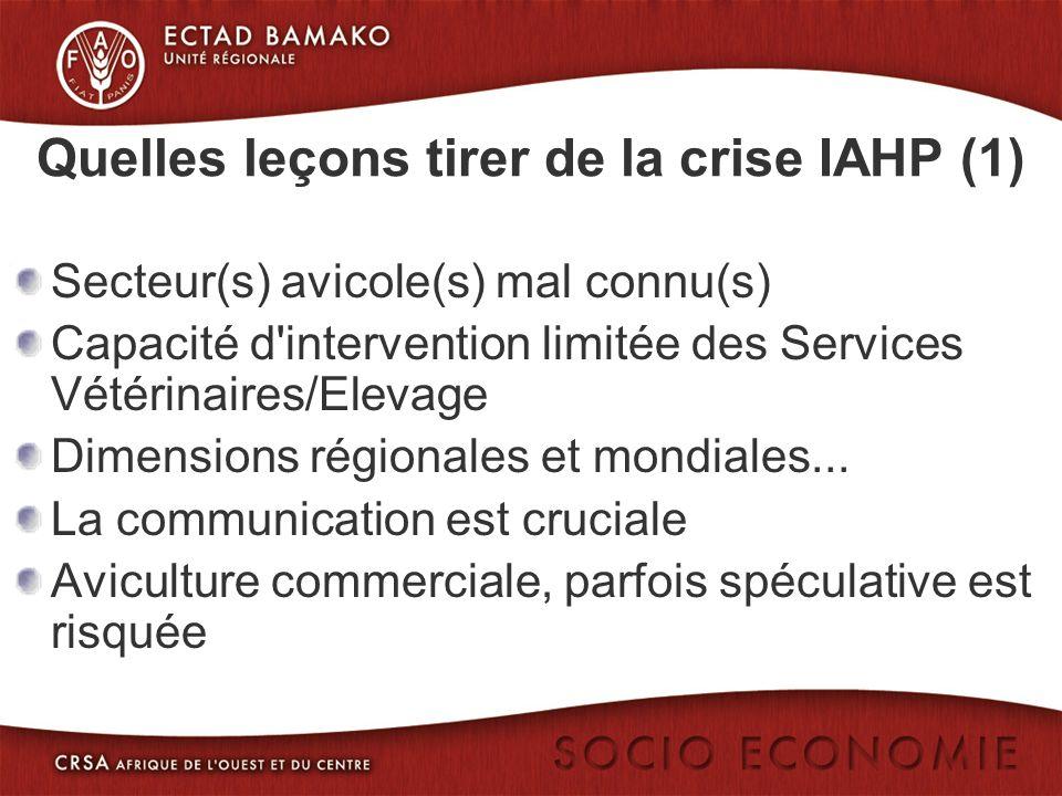 Quelles leçons tirer de la crise IAHP (1) Secteur(s) avicole(s) mal connu(s) Capacité d intervention limitée des Services Vétérinaires/Elevage Dimensions régionales et mondiales...