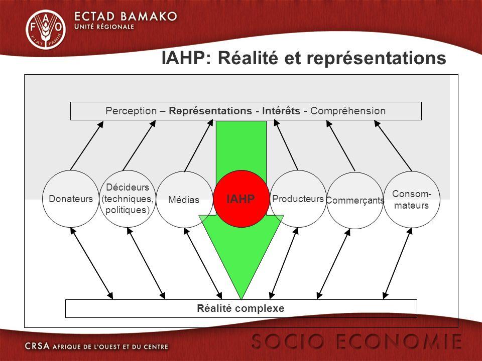 IAHP: Réalité et représentations Perception – Représentations - Intérêts - Compréhension Consom- mateurs Médias Réalité complexe Donateurs Décideurs (techniques, politiques) Producteurs Commerçants IAHP