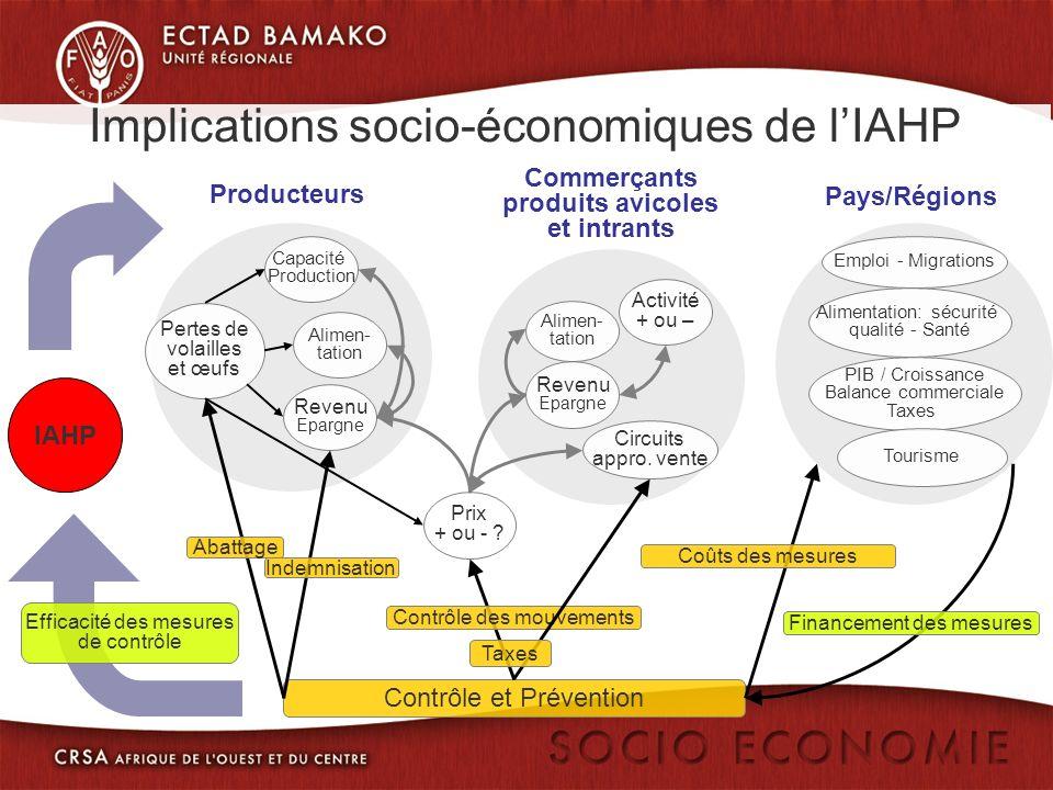 Contrôle et Prévention Implications socio-économiques de lIAHP IAHP Producteurs Pertes de volailles et œufs Alimen- tation Revenu Epargne Prix + ou - .