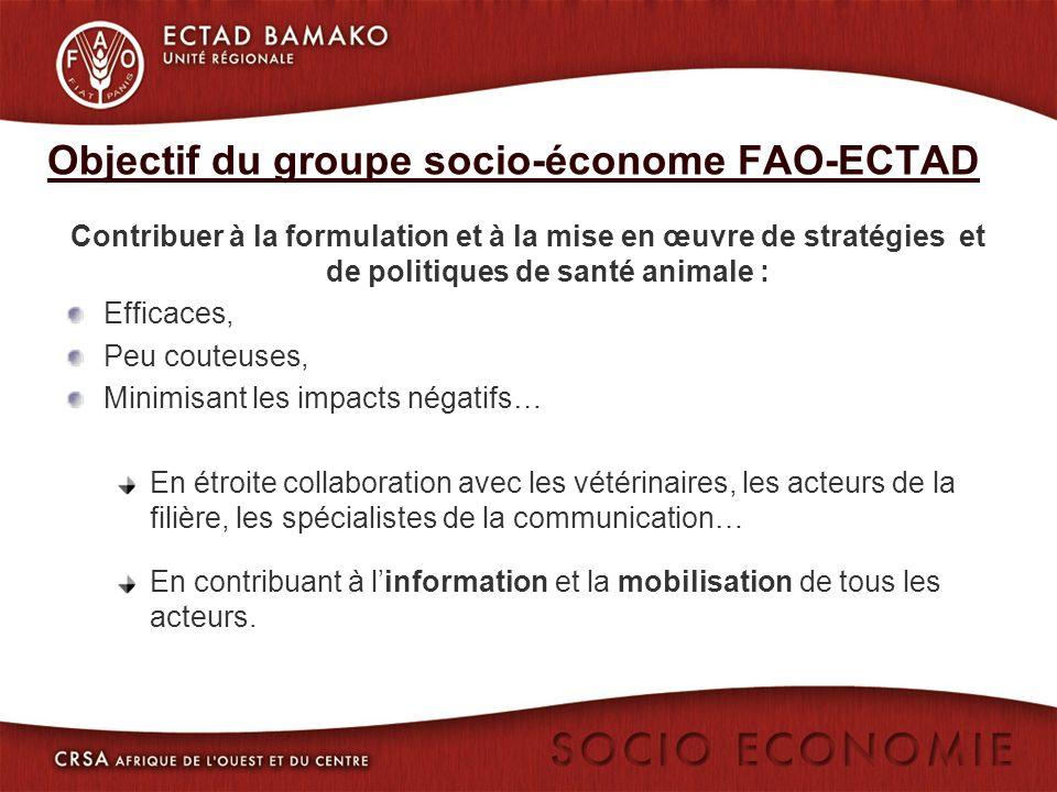 Objectif du groupe socio-économe FAO-ECTAD Contribuer à la formulation et à la mise en œuvre de stratégies et de politiques de santé animale : Efficaces, Peu couteuses, Minimisant les impacts négatifs… En étroite collaboration avec les vétérinaires, les acteurs de la filière, les spécialistes de la communication… En contribuant à linformation et la mobilisation de tous les acteurs.