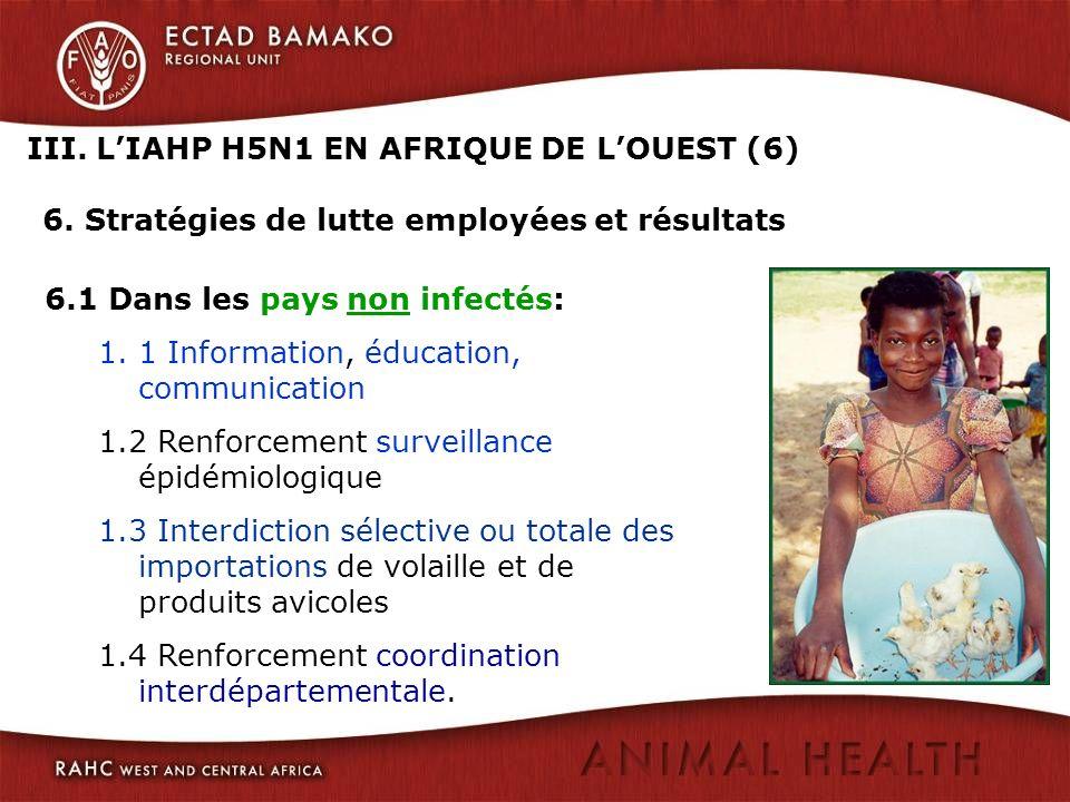 III. LIAHP H5N1 EN AFRIQUE DE LOUEST (6) 6. Stratégies de lutte employées et résultats 6.1 Dans les pays non infectés: 1.1 Information, éducation, com