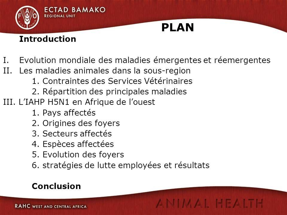 PLAN Introduction I.Evolution mondiale des maladies émergentes et réemergentes II.Les maladies animales dans la sous-region 1. Contraintes des Service