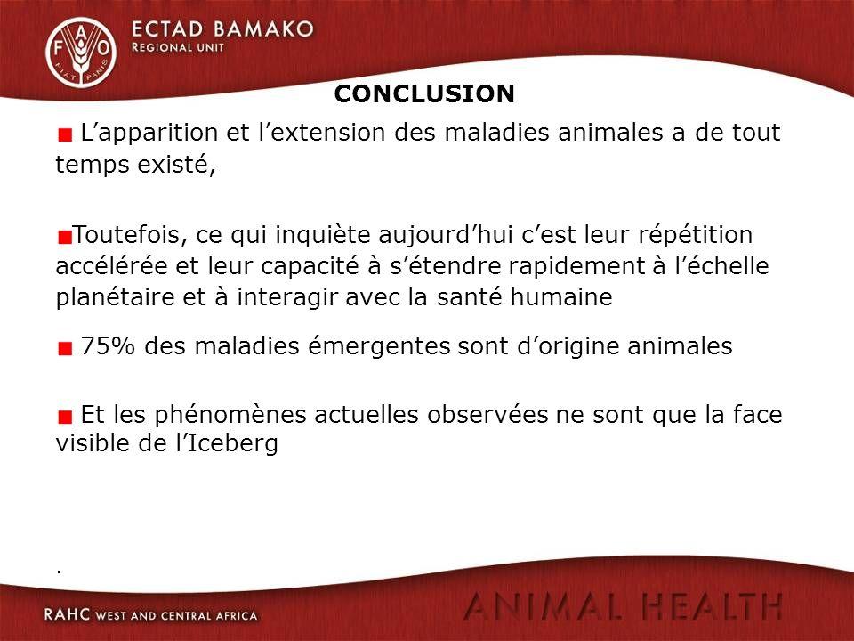 CONCLUSION. Lapparition et lextension des maladies animales a de tout temps existé, Toutefois, ce qui inquiète aujourdhui cest leur répétition accélér
