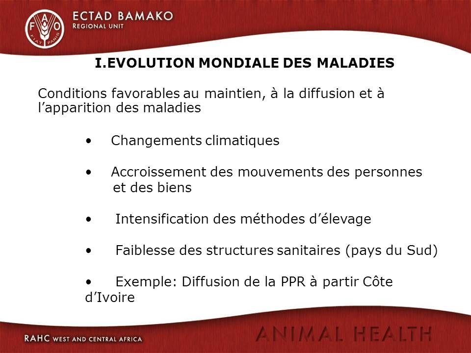 I.EVOLUTION MONDIALE DES MALADIES Conditions favorables au maintien, à la diffusion et à lapparition des maladies Changements climatiques Accroissemen