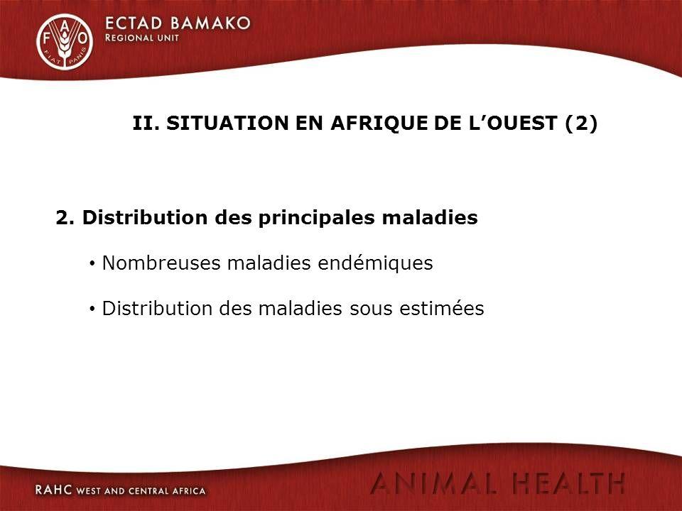 II. SITUATION EN AFRIQUE DE LOUEST (2) 2. Distribution des principales maladies Nombreuses maladies endémiques Distribution des maladies sous estimées