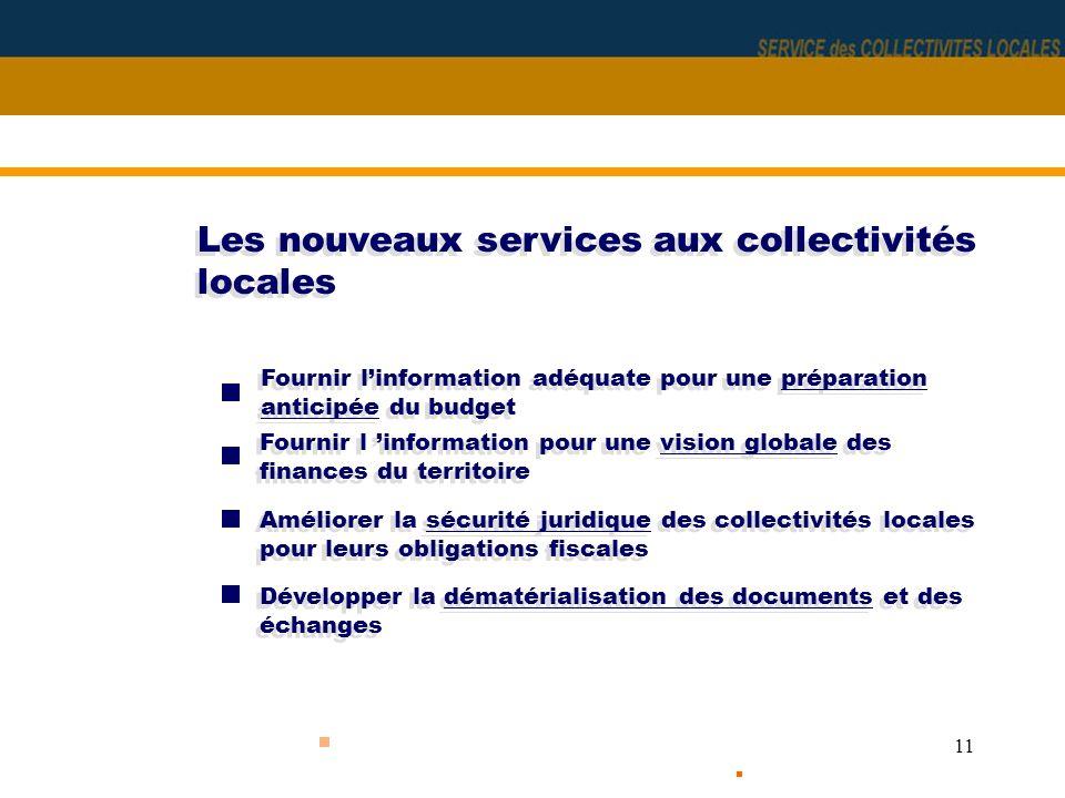 11 Les nouveaux services aux collectivités locales Fournir linformation adéquate pour une préparation anticipée du budget Fournir l information pour u