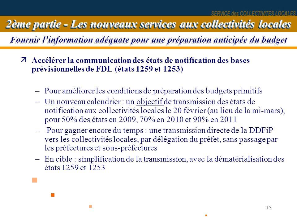 15 Fournir linformation adéquate pour une préparation anticipée du budget äAccélérer la communication des états de notification des bases prévisionnel