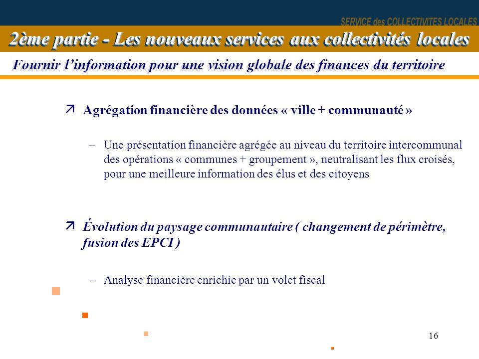16 äAgrégation financière des données « ville + communauté » –Une présentation financière agrégée au niveau du territoire intercommunal des opérations