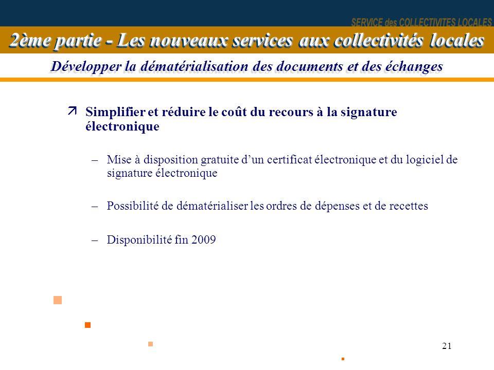 21 Développer la dématérialisation des documents et des échanges äSimplifier et réduire le coût du recours à la signature électronique –Mise à disposi