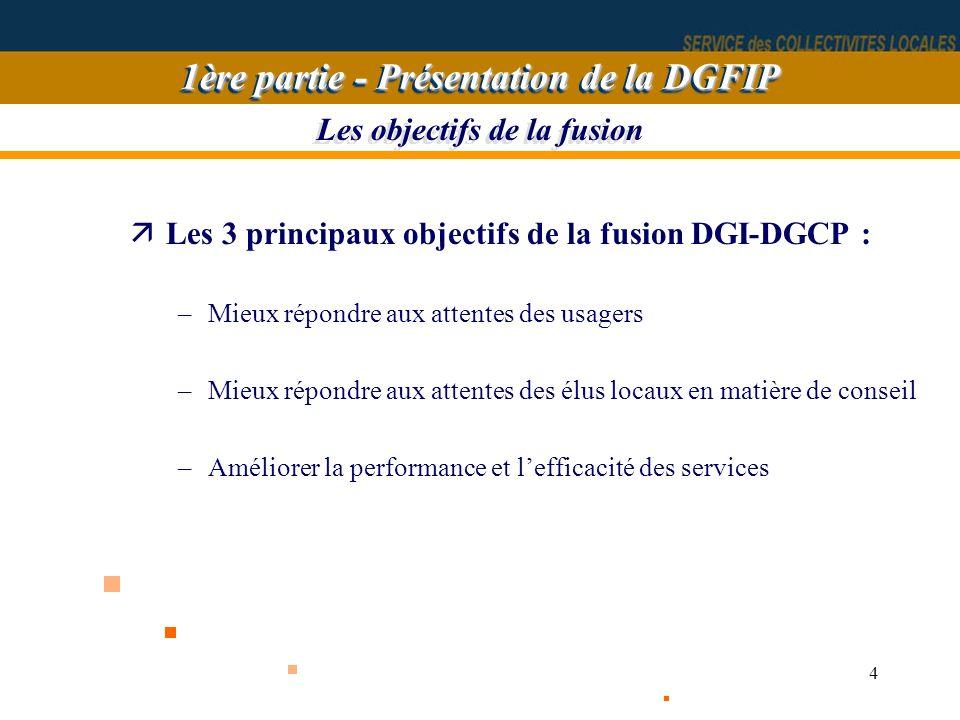 4 äLes 3 principaux objectifs de la fusion DGI-DGCP : –Mieux répondre aux attentes des usagers –Mieux répondre aux attentes des élus locaux en matière