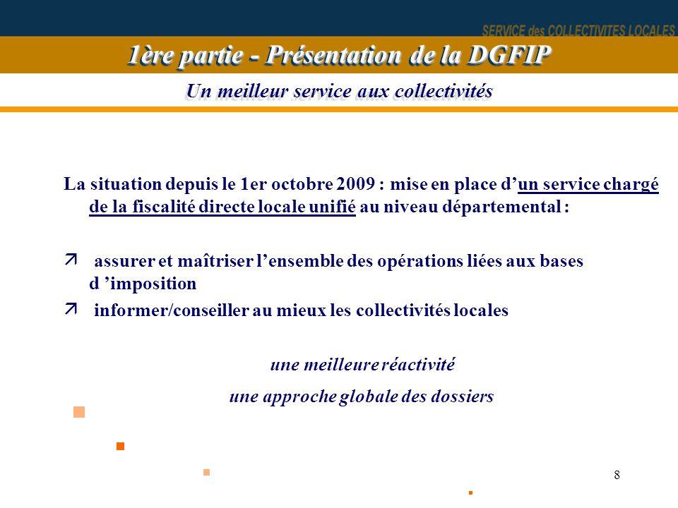 8 Un meilleur service aux collectivités La situation depuis le 1er octobre 2009 : mise en place dun service chargé de la fiscalité directe locale unif