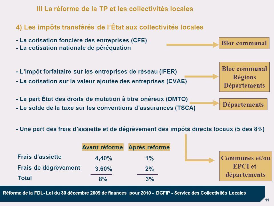 11 Réforme de la FDL- Loi du 30 décembre 2009 de finances pour 2010 - DGFiP - Service des Collectivités Locales 4) Les impôts transférés de lÉtat aux
