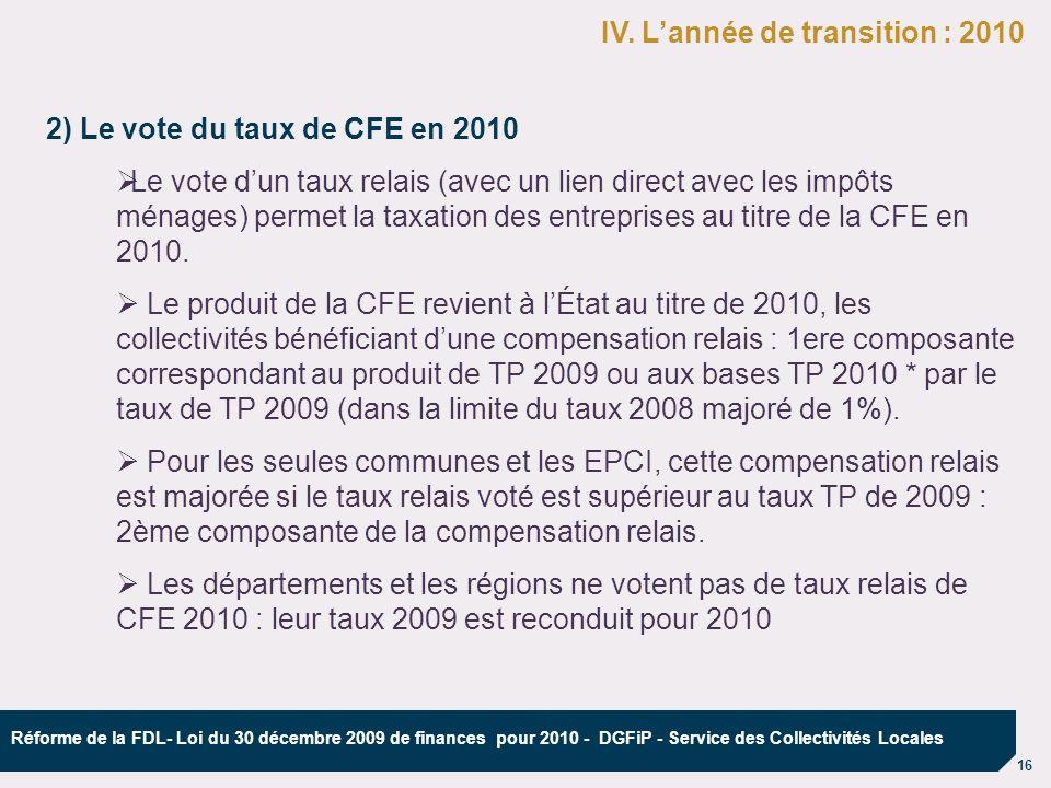 16 Réforme de la FDL- Loi du 30 décembre 2009 de finances pour 2010 - DGFiP - Service des Collectivités Locales 2) Le vote du taux de CFE en 2010 ØLe