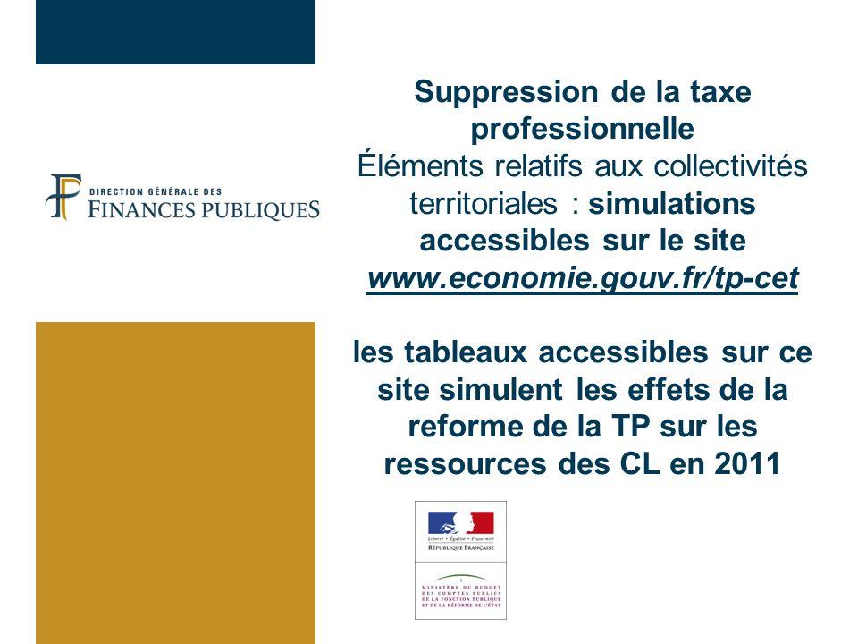 Suppression de la taxe professionnelle Éléments relatifs aux collectivités territoriales : simulations accessibles sur le site www.economie.gouv.fr/tp