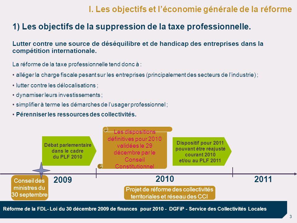 14 Réforme de la FDL- Loi du 30 décembre 2009 de finances pour 2010 - DGFiP - Service des Collectivités Locales 2010 : une année de transition - 2011 : de nouvelles recettes 2010 : mise en œuvre de la réforme pour les entreprises mise en œuvre des clauses de rendez-vous (juillet 2010) pour ajuster le dispositif 2011 : mise en œuvre de la réforme pour les collectivités locales IV Le calendrier de la réforme CET et IFER Compensation relais TP Les entreprises sont imposées à la CET et à lIFER Les entreprises sont imposées à la CET et à lIFER Les collectivités locales perçoivent la CET et l IFER Débat parlementaire dans le cadre du PLF2010 201020112009 Les collectivités locales perçoivent l équivalent financier 2009.