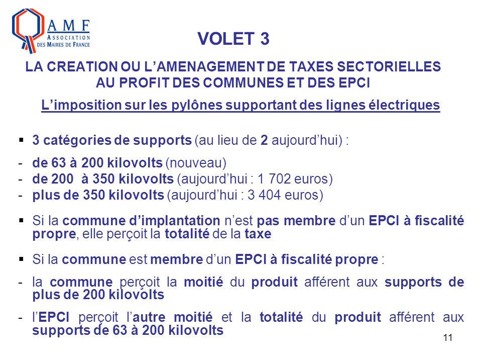 11 VOLET 3 LA CREATION OU LAMENAGEMENT DE TAXES SECTORIELLES AU PROFIT DES COMMUNES ET DES EPCI Limposition sur les pylônes supportant des lignes électriques 3 catégories de supports (au lieu de 2 aujourdhui) : -de 63 à 200 kilovolts (nouveau) -de 200 à 350 kilovolts (aujourdhui : 1 702 euros) -plus de 350 kilovolts (aujourdhui : 3 404 euros) Si la commune dimplantation nest pas membre dun EPCI à fiscalité propre, elle perçoit la totalité de la taxe Si la commune est membre dun EPCI à fiscalité propre : -la commune perçoit la moitié du produit afférent aux supports de plus de 200 kilovolts -lEPCI perçoit lautre moitié et la totalité du produit afférent aux supports de 63 à 200 kilovolts