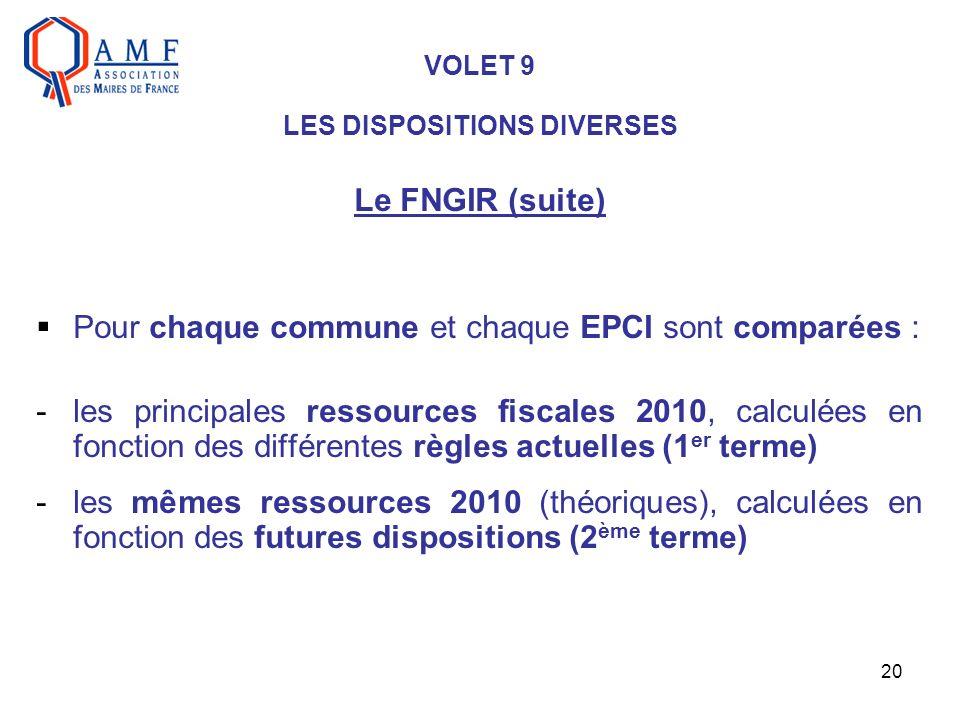 20 VOLET 9 LES DISPOSITIONS DIVERSES Le FNGIR (suite) Pour chaque commune et chaque EPCI sont comparées : -les principales ressources fiscales 2010, c