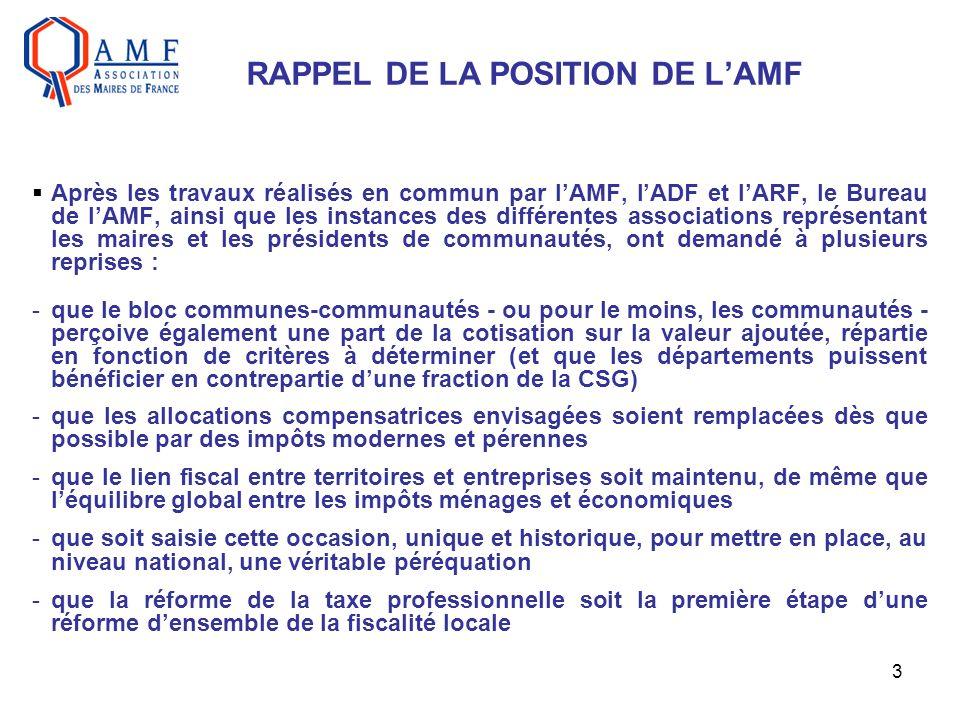 3 RAPPEL DE LA POSITION DE LAMF Après les travaux réalisés en commun par lAMF, lADF et lARF, le Bureau de lAMF, ainsi que les instances des différente