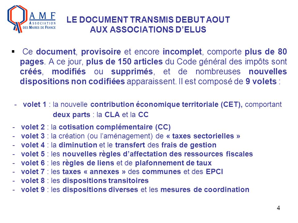 4 LE DOCUMENT TRANSMIS DEBUT AOUT AUX ASSOCIATIONS DELUS Ce document, provisoire et encore incomplet, comporte plus de 80 pages.
