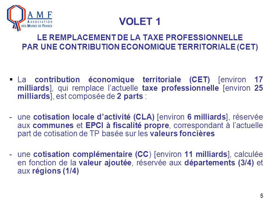 5 VOLET 1 LE REMPLACEMENT DE LA TAXE PROFESSIONNELLE PAR UNE CONTRIBUTION ECONOMIQUE TERRITORIALE (CET) La contribution économique territoriale (CET)