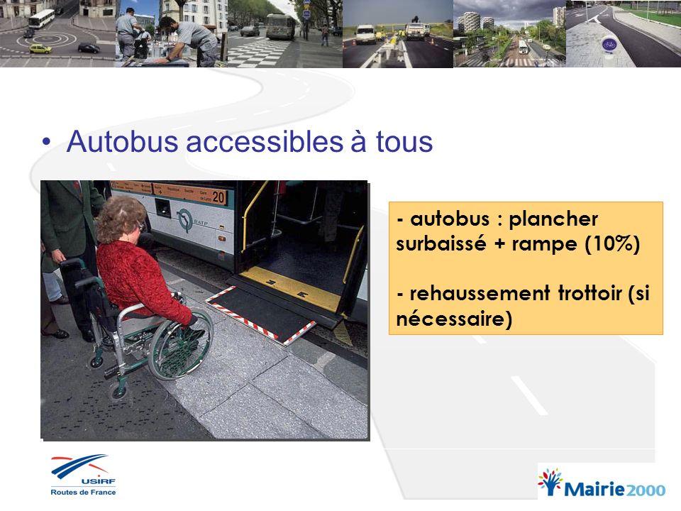 Autobus accessibles à tous - autobus : plancher surbaissé + rampe (10%) - rehaussement trottoir (si nécessaire)