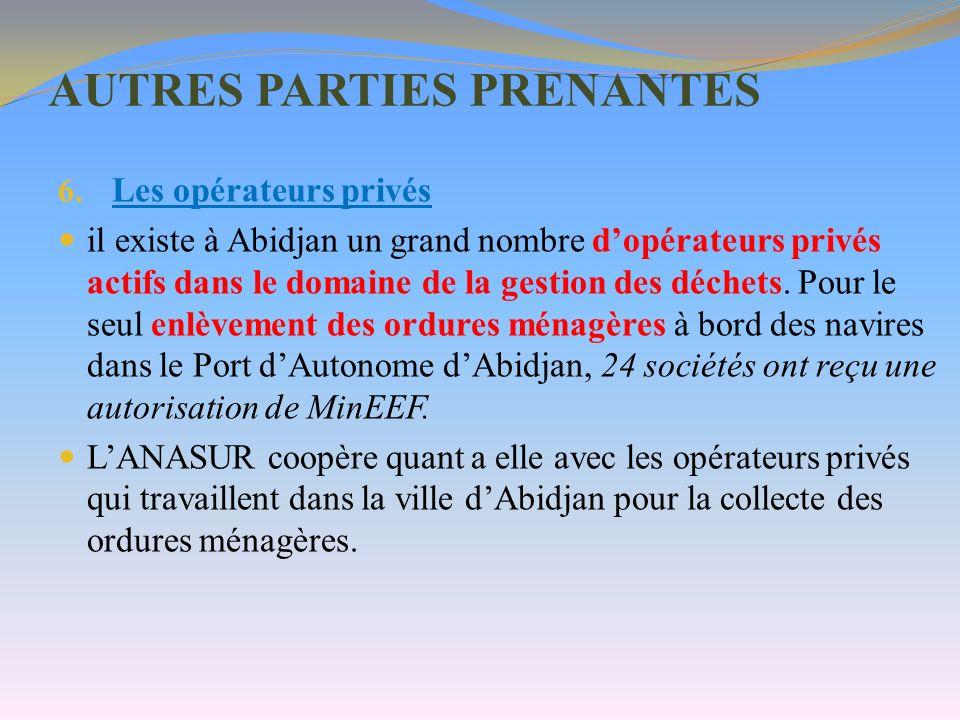 AUTRES PARTIES PRENANTES 6. Les opérateurs privés il existe à Abidjan un grand nombre dopérateurs privés actifs dans le domaine de la gestion des déch