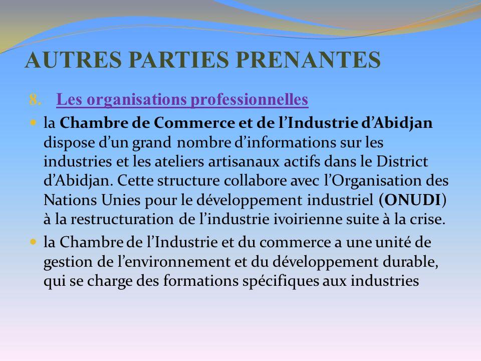 AUTRES PARTIES PRENANTES 8. Les organisations professionnelles la Chambre de Commerce et de lIndustrie dAbidjan dispose dun grand nombre dinformations