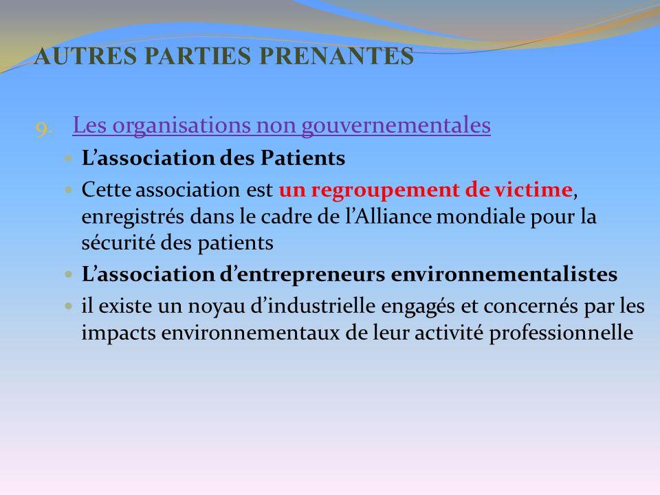 AUTRES PARTIES PRENANTES 9. Les organisations non gouvernementales Lassociation des Patients Cette association est un regroupement de victime, enregis