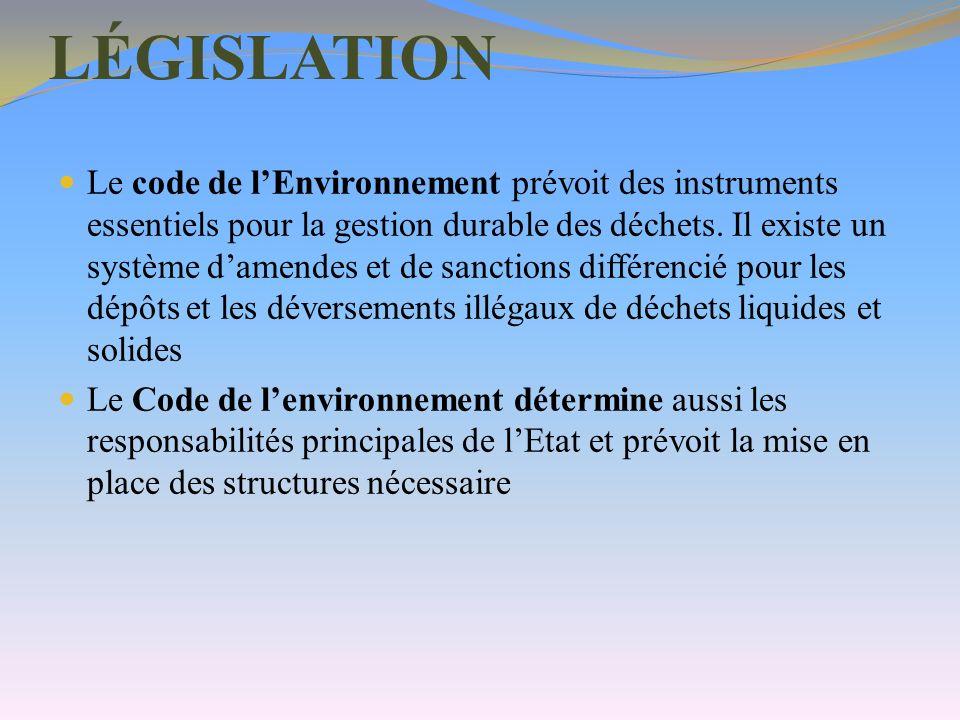 LÉGISLATION Le code de lEnvironnement prévoit des instruments essentiels pour la gestion durable des déchets. Il existe un système damendes et de sanc